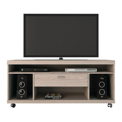 Manhattan Comfort - Ansonia TV Stand, Nature White - The Ansonia TV stand is functional and economical, designed for compact spaces. This product harmoniously accomodates several audio and video devices. Combine it with one of our TV panels for a complete look. Choose from 4 colors to match your decor.