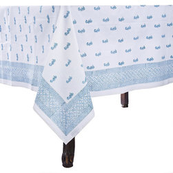 """Frontgate - Seahorse Tablecloth - Constructed of 100% cotton. Some imperfections in printing and variations in color exist because of the unique printing process. Machine wash cold, tumble dry low. Warm iron as needed. Miniature seahorses and an attractive border design make a winsome combination in our charming Seahorse Tablecloth. The adorable pattern is block-printed by hand on crisp white cotton using deep, natural dyestuffs. Bring a """"beachy' feel to your summer dining and enjoy the ease of machine-washable fabric.  .  .  .  . Imported."""