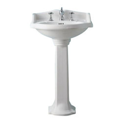 Whitehaus - Whitehaus Ar814-Ar815 China Series Trim - China Series small traditional pedestal with integral oval bowl, backsplash, dual soap ledges, decorative trim