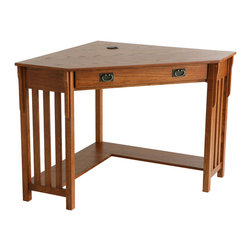 """Holly & Martin - Alexander Corner Computer Desk, Mission Oak - No house is complete in the modern era without a convenient home office. Why settle for a solution that clutters your home when this mission oak corner desk can save you space and add style? On the top, a circular cord keeper is recessed into the surface near the corner to guide and organize all of your computer cords. The front drawer folds down to reveal a retractable tray that allows you to store your keyboard and mouse dust free and out of sight. Approximately 6"""" above the floor, an 8"""" deep shelf lines the back edge of the desk along the wall for easily accessible storage of books, disks or other computer gadgets. Both a stylish and useful piece of furniture, this corner computer desk is a must have for every home."""