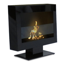 Anywhere Fireplace - Anywhere Tribeca II Floor Standing Bio-Ethanol Fireplace - The simple, elegant design and the beautiful satin black finish of the Tribeca II model Anywhere Fireplace on a stand will create a dramatic statement and add architectural interest to any room. Just place it on the floor in any room and your guest will be impressed at the style and sophistication it adds to any decor, traditional to contemporary. Assembles easily in just a few minutes. An additional feature of the Tribeca II Anywhere Fireplace is that if you would ever want to change it to hang on a wall instead of sitting on the floor, you can purchase the wall brackets, remove the base and it will easily convert to a wall-mount fireplace. Truly one of a kind fireplace that will give you there al dancing flames a fireplace, but without construction, connections and without the hassle of smoke, fumes, soot or smell. Totally clean and beautiful for you to enjoy anywhere. Never substitute any other fuel in place of liquid fuel for ventless fireplaces. Always read all instructions on your firelplace and the fuel bottle.