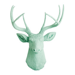 White Faux Taxidermy - The Eleanor - Seafoam Green Faux Resin Deer Head - Measurements: