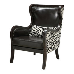 """Coaster - """"Coaster Accent Chair, Black/Zebra Print"""" - """"The perfect blend of modern and traditional. This black leather-like vinyl wing back chair is accented with chrome nailheads and is supported by solid wood legs.Dimensions (W x L x H): 28.00"""""""" x 33.00"""""""" x 41.50""""""""Seat Depth: 24.00""""""""Upholstery Material: Leather-like vinyl/fabricFinish/Color: Black/Zebra PatternAssembly Required: NoMade in China"""""""
