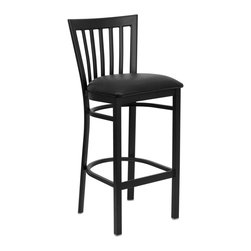 Flash Furniture - Flash Furniture Restaurant Seating Metal Restaurant Barstools - This heavy duty commercial metal bar stool is ideal for Restaurants, Hotels, Bars, Pool Halls, Lounges, and in the Home. The lightweight design of the stool makes it easy to move around. The tubular foot rest not only supports your feet, but acts as an additional reinforcement that helps secure the legs. This stool will keep you comfortable with the easy to clean vinyl upholstered seat. You will not regret the purchase of this bar stool that is sure to complement any environment to fill the void in your decor. [XU-DG6R8BSCH-BAR-BLKV-GG]