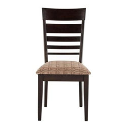 Safavieh - Nino Dining Side Chair - The contoured back of the Nino dining side chair gets an added visual punch thanks to the variegated design of its horizontal slats. A generously padded seat, finished in a neutral contemporary fabric, ensures comfort of this piece, crafted from renewable rubberwood.