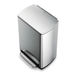 Simplehuman - simplehuman 50-Liter Rectangular Fingerprint-Proof Brushed Stainless Steel Step - simplehuman 13 Gallon Fingerprint-Proof Rectangular Step Can has a wide all-steel pedal for easy access.