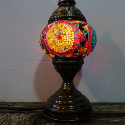 """'Sunset' Tribal Mosaic Lamp,Authentic Desk Lamp , Moroccan Style Lamp - Lamp's Height 16.50"""""""