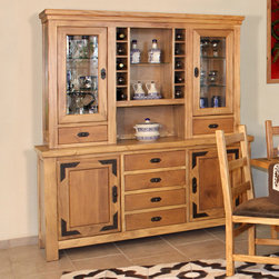 Artisan Home Furniture - Artisan Home Lodge 100 70 Inch Buffet w/ Hutch - The Lodge collection invites you to sit down, get comfortable and stay a while. Select alder and cottonwood are used to build functional and sturdy pieces for years to come. Casually elegant and striking, all the pieces in this collection display eye pleasing appeal, bringing you images of a quiet mountain country getaway; an escape from daily routine, in your own home. - LHR101.  Product features: All Lodge dining items are finished with a wood tone lacquer coating; Lodge buffet is completely finished so it may be utilized without the hutch; Lodge hutch features wine storage, utensil drawers and lighted areas to display your collectibles; Wood tone lacquer coating gives depth, color and clarity; Cottonwood, alder and pine construction; Hardwoods give additional strength, durability and beauty. Product includes: Buffet (1); Hutch (1). 70 Inch Buffet w/ Hutch belongs to Lodge 100 Collection by Artisan Home.