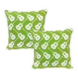 RoomCraft - Green Guitars Throw Pillow Covers 16x16 Instrument Shams - FEATURES: