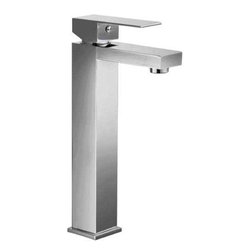 ALFI brand - ALFI brand AB1129 Single Lever Tall Square Bathroom Faucet, Brushed Nickel - Simple and elegant modern tall bathroom vessel faucet by ALFI brand. Squared edges and one easy to use lever handle make this a perfect addition to any bathroom decor.
