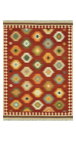 """Loloi Rugs - Loloi Rugs Isara Collection - Red / Multi, 3'-6"""" x 5'-6"""" - The Isara Collection finds inspiration from antique Turkish and Persian kilims, updating the vintage looks for today. These reversible tribal and Southwestern looks maintain an antique, worn appearance, thanks to a meticulous coloring process. Made in India of 100% wool, Isara is a new classic for today."""