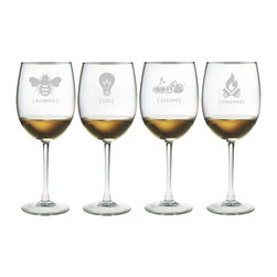 Susquehanna Glass - Tipsy All Purpose Wine Glass, 19oz, S/4 - Each 19 ounce wine glass is sand etched with a different synonymously-saucy design, including 'juiced,' 'lit,' 'buzzed,' and 'toasted.' Dishwasher safe. Sold as a set of four. Made and decorated in the USA.