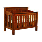 Chelsea Home Furniture - Chelsea Home Stratford Crib in Michaels Cherry Stain - As children go through stages as they grow, so should their furniture. The Stratford Convertible Crib Set, shown with White Quarter Sawn Oak and Michaels Cherry Stain, is a solid wood 3-stage bed system that is constructed with quality and durability to transition any newborn into adulthood with an ornate minimalism. The sturdy slats and arched back panels add to the decorative embellishment along the top edges of the crib, giving just the right amount of detail. This CPSC 16 CFR 1219 and 1220 compliant convertible piece is complete with guard rail and 3-level mattress support, and simple transition instructions to keep your child resting easy and comfortable. Chelsea Home Furniture proudly offers handcrafted American made heirloom quality furniture, custom made for you. What makes heirloom quality furniture? It's knowing how to turn a house into a home. It's clean lines, ingenuity and impeccable construction derived from solid woods, not veneers or printed finishes over composites or wood products _ the best nature has to offer. It's creating memories. It's ensuring the furniture you buy today will still be the same 100 years from now! Every piece of furniture in our collection is built by expert furniture artisans with a standard of superiority that is unmatched by mass-produced composite materials imported from Asia or produced domestically. This rare standard is evident through our use of the finest materials available, such as locally grown hardwoods of many varieties, and pine, which make our products durable and long lasting. Many pieces are signed by the craftsman that produces them, as these artisans are proud of the work they do! These American made pieces are built with mastery, using mortise-and-tenon joints that have been used by woodworkers for thousands of years. In addition, our craftsmen use tongue-in-groove construction, and screws instead of nails during assembly and d