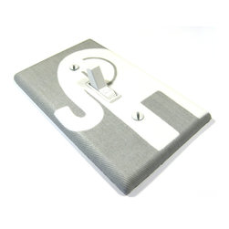 Modern Switch - Gray and White Elephant Light Switch Cover - This light switch cover is made when ordered please allow 1-2 weeks before shipping.