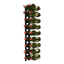 Epicureanist - 18 Bottle Epic Metal Wine Rack (Black) - At last--a new wall-mount metal wine rack option! This 9 bottle metal rack can be fastened to almost any wall or inside of a wine cabinet. The patented design features sturdy metal construction that artfully displays your bottles with the labels visible for show. This unique wire rack consists of two identical pieces that cradle each end of the body of your bottle for a dazzling display. Try Epicureanist wine racks!