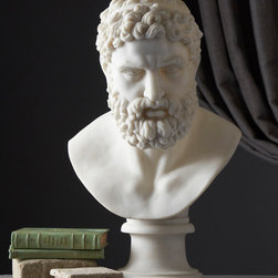 Poseidon Pantheon Bust - The perfect bust to add to any sea inspired d�cor, as Poseidon is the God of the sea. His face beckons safe passage across the waters and in your home he will perch knowingly and powerfully until he is angered and he strikes his trident down making violent stormy seas rise up.