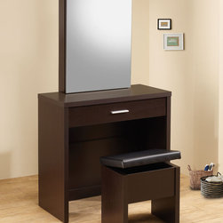 Coaster - 300289 2-Piece Vanity Set - Cappuccino - These sleek contemporary vanity sets will be a welcomed addition to your master bedroom. Featuring a large mirror that slides open to reveal hidden jewelry storage compartments and hooks as well as a pull-out drawer which has been divided to make organizing more convenient. A matching stool with storage space is included. Available in a glossy cappuccino or white finish.