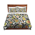 DiaNoche Designs - Duvet Cover Twill by Organic Saturation - Retro Paisley - Lightweight and soft brushed twill Duvet Cover sizes Twin, Queen, King.  SHAMS NOT INCLUDED.  This duvet is designed to wash upon arrival for maximum softness.   Each duvet starts by looming the fabric and cutting to the size ordered.  The Image is printed and your Duvet Cover is meticulously sewn together with ties in each corner and a concealed zip closure.  All in the USA!!  Poly top with a Cotton Poly underside.  Dye Sublimation printing permanently adheres the ink to the material for long life and durability. Printed top, cream colored bottom, Machine Washable, Product may vary slightly from image.