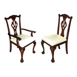 MBW Furniture - Set 8 Solid Mahogany Dark Cherry Chippendale Cream Dining Chairs - Kiln dried solid mahogany construction