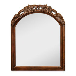"Hardware Resources - Jeffrey Alexander Walnut Bombe Mirror in Walnut Burled (MIR009) - 26"" x 32"" Walnut mirror with hand carved details and beveled glass"