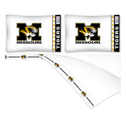 Sports Coverage - NCAA Missouri Tigers Football Queen Bed Sheet Set - Features:
