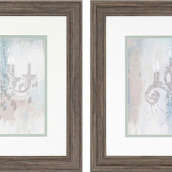Paragon Decor - Candelabra Teal Set of 2 Artwork - Soft shades blend together in contemporary fashion with a nuance of traditional.  Matted in white and framed in rustic molding.