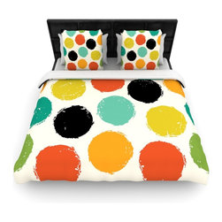 """Kess InHouse - Daisy Beatrice """"Retro Dots"""" Circles Cotton Duvet Cover (Twin, 68"""" x 88"""") - Rest in comfort among this artistically inclined cotton blend duvet cover. This duvet cover is as light as a feather! You will be sure to be the envy of all of your guests with this aesthetically pleasing duvet. We highly recommend washing this as many times as you like as this material will not fade or lose comfort. Cotton blended, this duvet cover is not only beautiful and artistic but can be used year round with a duvet insert! Add our cotton shams to make your bed complete and looking stylish and artistic!"""