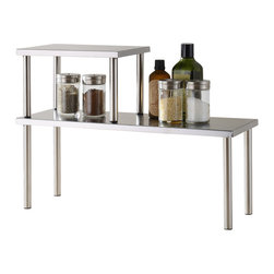 Cook N Home - Cook N Home 2-Tier Counter Storage Shelf, Stainless Steel - What's in Box: Stainless steel corner 2 tier shelf.