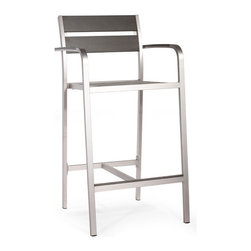 ZUO - Megapolis Bar Arm Chair - Like something you'd find in one of those brutally hip urban wine bars, the Megapolis Bar series is sleekly silver and durable. Features a table and chair and armchair. Sold separately.