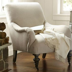 """Bristol Rolled Back Armchair, Linen Oatmeal - Crafted with the gracious lines of a British easy chair, this armchair is cozy and welcoming. The curve of its pleated English roll arms is echoed in the scrolled back, and the turned front legs are stained espresso and set on casters. 29"""" wide x 38"""" deep x 35"""" high Curved back with thick padding and English roll arms. Extra-thick foam-core seat is wrapped with lofty padding. Turned front hardwood legs with an Espresso finish. Casters on front legs provide easy mobility. Kiln-dried hardwood frame. Crafted by master upholsterers in the USA."""