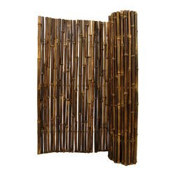 "Natural Black Rolled Bamboo Fence 1"" D X 6' H X 8' L - Black Rolled Bamboo Fence 1"" D X 6' H X 8' L"