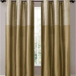 Victoria Classics Lancaster Grommet Curtain Panel Pair - With its raw silk look and rich color options, the Victoria Classics Lancaster Grommet Curtain Panel Pair frames your window in elegance. This curtain panel pair has the look and feel of raw silk yet is made of durable polyester. It features a wide, tonal stripe above and solid color below. Comes in your choice of sophisticated color combinations and features a metal grommet design for a clean, contemporary look and easy hanging.