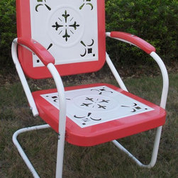 4D Concepts - Outdoor Metal Chair in Red - Red finish. Outdoor chair is great for all of your outdoor needs. Seats and backrests are trimmed in a vibrant shade of vintage Red. Decorative cut out design makes this chair a very stylish and sophisticated look. Metal arms with red metal capped armrest are a finishing touch to an outstanding chair. Clean with a dry non abrasive cloth. Assembly required. 27 in. W x 22.5 in. D x 35.5 in. H (31 lbs.)