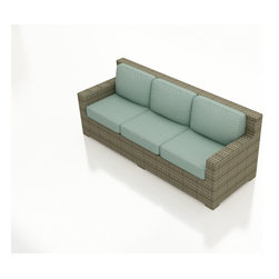 Forever Patio - Hampton Modern Patio Sofa, Heather Wicker and Spa Cushions - The Forever Patio Hampton Outdoor Rattan Straight Sofa with Turquoise Sunbrella cushions (SKU FP-HAM-S-HT-SP) comfortably seats 3 people, featuring deep seating and wide, modern armrests. The UV-protected, heather wicker sports a flat woven design, creating a contemporary look with clean lines. Each strand of this outdoor wicker is made from High-Density Polyethylene (HDPE) and is infused with its rich color and UV-inhibitors that prevent cracking, chipping and fading ordinarily caused by sunlight. This modern patio sofa is supported by thick-gauged, powder-coated aluminum frames that make it more durable than natural rattan. This sofa includes fade- and mildew-resistant Sunbrella cushions for added comfort in your outdoor space.