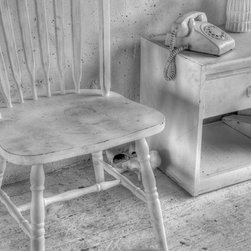 Black and White - The dustbuster, vintage telephone, high heels, vintage chair were all painted dirty white to add to this eclectic photo.  Fine are photography black and white by jane linders