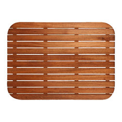 TEAKWORKS4U - Teakworks4u Teak Mat With Rounded Corners,Plantation Teak, Natural, Unfinished,E - Teakworks4u Teak Mat With Rounded Corners is ideal for indoor or outdoor use. It is constructed of marine grade stainless steel screws that are countersunk into the bottom supports and into the top slats. It features narrow drainage gaps to assure a comfortable  surface for bare feet and anti-bacterial rubberized strips are bonded to each teak  support to assure the mat stays in place.