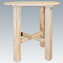 Montana Woodworks - Round Bistro Table - Hand crafted. Heirloom quality. Edge glued panels. Solid lodge pole legs. Timbers and trim pieces are sawn square. Rustic timber frame design. Easy glide drawer slides and quality hinges. Made from American grown wood. Made in USA. No assembly required. 45 in. Dia. x 40 in. H (115 lbs.). Warranty. Ready to Finish. Use and Care InstructionsRevel in the natural beauty of this classic style bistro table. The large, robust legs ensure this table's timeless beauty and durability.