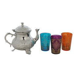 "Divine Designs - Multi-colored Nickle plated Moroccan Tea Set - ""This stunning Moroccan Tea Set offer a new and unique experience to dining. The vibrant colors and distinguishing designs are stylish and will most certainly impress any house guest while entertaining."