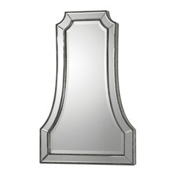 "Uttermost - Cattaneo Silver Beaded Mirror - If you are longing for an eye-catching mirror that's not round, oval or rectangular, you've hit the jackpot. This art deco inspired mirror is a mirror within a mirror. Strips of beveled mirrors surrounded by a beaded edge act as the frame, giving it an unusual ""A"" shape."