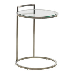 Nuevo Living - Lily Side Table - When you soften the edges of modern design, you create a vibe that's cool, not cold. This side table is a means toward that end — a circular tempered glass surface framed in brushed stainless steel.