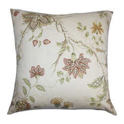 The Pillow Collection - Ululani Red 18 x 18 Floral Throw Pillow - - Pillows have hidden zippers for easy removal and cleaning  - Reversible pillow with same fabric on both sides  - Comes standard with a 5/95 feather blend pillow insert  - All four sides have a clean knife-edge finish  - Pillow insert is 19 x 19 to ensure a tight and generous fit  - Cover and insert made in the USA  - Spot clean and Dry cleaning recommended  - Fill Material: 5/95 down feather blend The Pillow Collection - P18-ROB-MEADOWVIEW-SPICE-C100