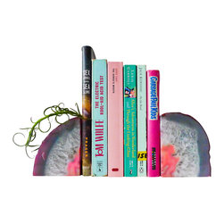 EarthSeaWarrior - BookGardEndz Crystal Bookends Air Plant Garden, Pastel in Pink - Bring otherworldly beauty to your bookshelf with these stunning, ethereal crystal bookends. These large, cut-open agate crystal geodes are also home to air plants, which have been planted in the crevices of the stone, adding botanical beauty to your decor. These low-maintenance plants require very little, and come with a four ounce bottle of ESW air plant fertilizer to get you started. With these crystals flanking your mantle, credenza or bookshelf, you'll be showcasing natural beauty in a truly enchanting way!