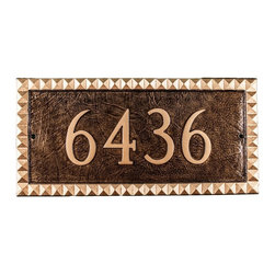 Montague Metal Products - Cairo 2-Line Rectangle Address Plaque - PCS-71-AB/G-W - Shop for Address Numbers Letters and Plaques from Hayneedle.com! Add a little exotic style to your front porch with the Cairo 2-Line Rectangle Address Plaque. As stylish as it is practical this plaque offers two lines to personalize your address. It's hand-crafted of aluminum using a traditional sand casting method and comes in your choice of color combination and mounting option. About Montague Metal ProductsMontague Metal Products is a family-owned and operated business founded in 1989. They are located in Montague Michigan where all their items are manufacturer. Montague Metal Products creates address plaques weathervanes flag pole eagles and other outdoor accents. They create these high-quality aluminum outdoor decor using the age-old sand casting method. Montague Metal takes great pride in providing durable quality items at a reasonable price.