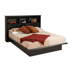 Prepac Furniture - Prepac Black Platform Bed with Bookcase Headboard - This amazing Black Platform Bed with Bookcase Headboard - Prepac Furniture has streamlined design that will complement many styles. This easy to assemble product is made from a mixture of composite woods with a laminated finish. Decorative moldings keep the mattress positioned in place, which is elevated 10 inches from the ground. Functional double/ queen bookcase headboard offers a stylish way to stay organized.    This price is for Double Size Bed with Headboard. Queen Size Bed is also available.    Features: