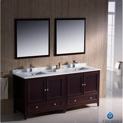 "Fresca - Fresca Oxford 72"" Traditional Double Sink Bathroom Vanity - Mahogany - Fresca's Oxford collection is just what you have been looking for. Solid construction with wonderful soft-close dovetail drawers. Available in the rich finishes of Espresso, Antique White and Mahogany. All of the vanities in the Oxford line come with seamless Quartz Stone Countertop and Backsplash. Many faucet styles to choose from. Bring the clean lines of the Oxford from Fresca into your home for many years of enjoyment. Features Mahogany Finish Solid Wood Frame, MDF Panels Quartz Stone Countertop Ceramic Undermount Sinks with Overflow Single Hole Faucet Mounts (Faucets Shown In Picture May No Longer Be Available So Please Check Compatible Faucet List) 4 Soft Close Doors 2 Soft Close Dovetail Drawers Seamless Countertop with Matching Backsplash Mirrors Included P-trap, Faucets, Pop-Up Drains and Installation Hardware Included How to handle your counter View Spec Sheet-->"