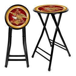 Trademark Global - Anheuser Busch A & Eagle 24 Inch Cushioned St - Set of 2. 14.17 inch round cushioned top. Spring loaded safety lock. Ergonomic, space saving design. Durable, coated steel construction. Easily wipes clean with mild soap and water. Opened: 14.17 in. Diam. x 24 in. H. Folded: 35.5 in. L x 14.17 in. W x 2.5 in. DHaving some friends over for the big game, but limited on seating? Looking for an inexpensive way to add seats without taking up a lot of room or wasting money on renting? Well this Anheuser Busch A-Eagle 24 inch cushioned stool is the way to go! Impress your friends with your comfortable Anheuser Busch A -Eagle branded stool.