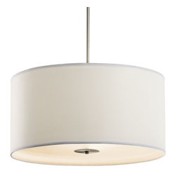 "Kichler - Convertible Drum Pendant 42121-42122 by Kichler - Hang as a pendant or semi-flushmount and enjoy flexible lighting in soft contemporary spaces. The Kichler Lighting Convertible Drum Pendant 42121-42122 features a White microfiber drum shade, a minimalist look great for a number of interior design schemes.Since 1938, Cleveland-based Kichler Lighting has created exceptional lighting in a variety of styles, finishes, colors and designs. With a diverse collection of indoor and outdoor lighting in classic and contemporary styles, Kichler Lighting always focuses on making home lighting that is both beautiful and functional.The Kichler Lighting Convertible Drum Pendant 42121-42122 is available with the following:Details:Drum-shaped White microfiber shadeSatin Etched glass diffuserSteel supportsBrushed Nickel finishRound ceiling canopyTwo 6"" and two 12"" stems90 degree stem tiltUL ListedOptions:Size: Large, or Small.Lighting:Large option utilizes three 150 Watt 120 Volt Type A19 Medium Base Incandescent lamps (not included).Small option utilizes three 100 Watt 120 Volt Type A19 Medium Base Incandescent lamps (not included).Shipping:This item usually ships in 3-5 days."