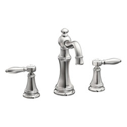 Moen - Moen TS42108 Two-Handle High Arc Bathroom Faucet - The elegant, traditional design details and distinctive finishing touches present a sens of unique luxury in the Weymouth collection. Beautiful accents include porcelain inlays that feature Euro-influenced decorative script and signature styling elements.