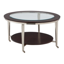 Steve Silver Company - Steve Silver Company Norton 35 Inch Round Cocktail Table - Steve Silver Company - Coffee Tables - NT100CX. The vivacious Norton Castered Glass-Top Coffee table will add excitement and energy to any room. The espresso wood frame top with inset beveled glass is attached to brush nickel castered legs making a stunning impression on your home.