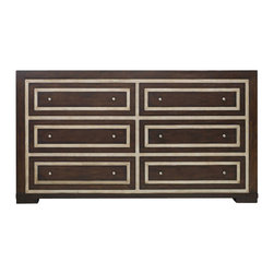 Hooker Furniture - Melange Bukhara Dresser - The Bukhara collection has walnut veneer accented by silver faux croc inlay borders.  Six drawers.  Felt-lined top drawers.